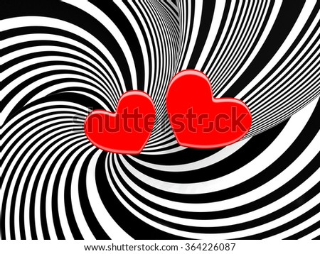 Greetings stripy abstract art background with a red hearts 3d illustration. - stock photo