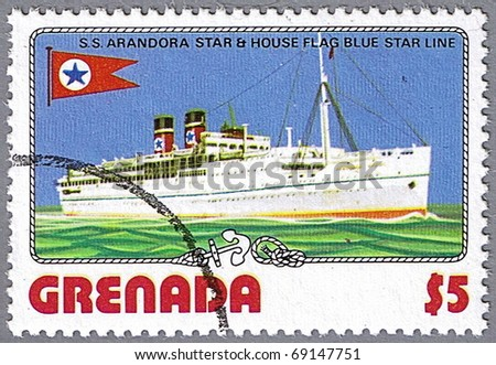 GRENADA - CIRCA 1976: A stamp printed in Grenada shows S.S. Arandora Star and Blue Star Line flag, series is devoted to ships, circa 1976 - stock photo