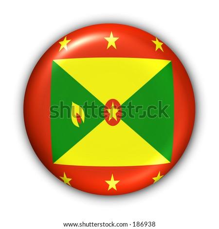 Grenada Flag Button - stock photo