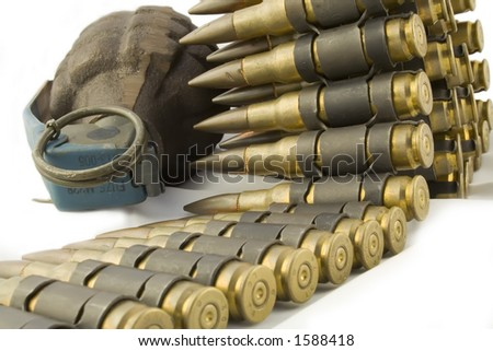 Grenade and Bullet Belt - stock photo