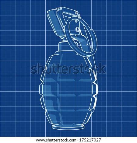 Grenade. Cad cartoon white drawing on blue background illustration outline. High resolution 3D  - stock photo