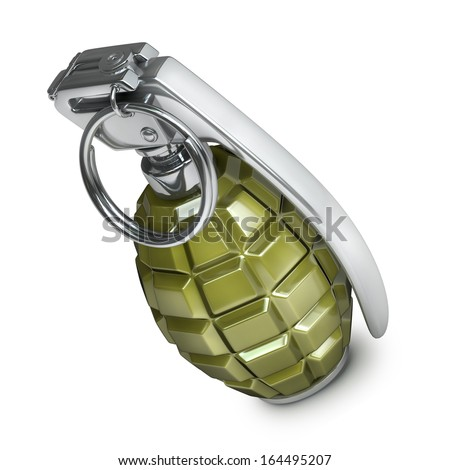 Grenade isolated on white background High resolution 3d  - stock photo