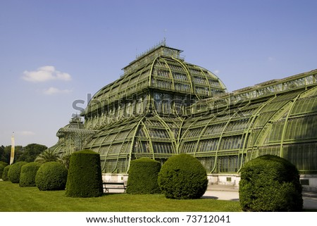 grennhaus, palmenhaus schoenbrunn in vienna - stock photo