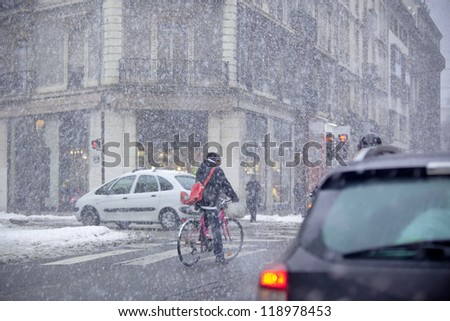 Grenoble, France at Winter Snowstorm. Horizontal toned image - stock photo