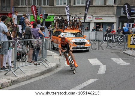 """GRENOBLE, FRANCE - JUN 3: Professional racing cyclist Gorka Verdugo rides UCI WORLD TOUR """"CRITERIUM DU DAUPHINE LIBERE"""" time trial on June 3, 2012 in Grenoble, France. Luke Durbridge wins the stage - stock photo"""