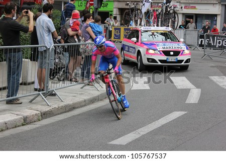 """GRENOBLE, FRANCE - JUN 3: Professional racing cyclist Marco Marzano rides UCI WORLD TOUR """"CRITERIUM DU DAUPHINE LIBERE"""" time trial on June 3, 2012 in Grenoble, France. Luke Durbridge wins the stage - stock photo"""