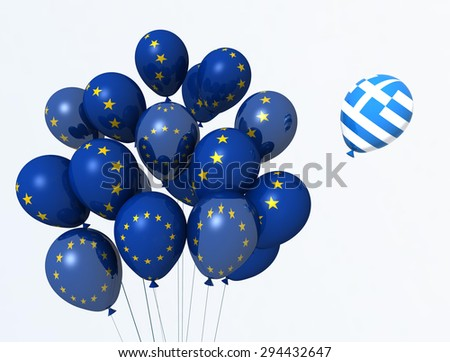 grexit, euro,  eurozone - balloons flags - stock photo