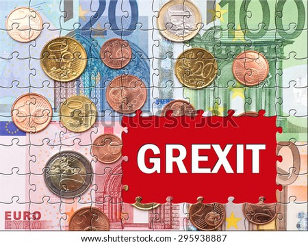 Grexit - Greek Exit - Euro bank notes with text - stock photo