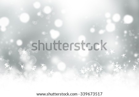 Grey abstract Christmas background with stars and bokeh - stock photo