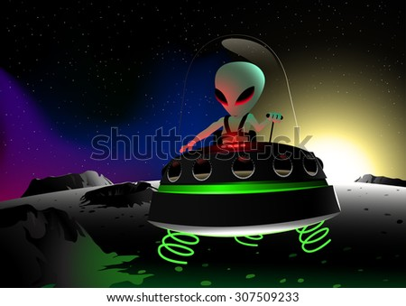 Grey alien flying on moon surface in a UFO. - stock photo
