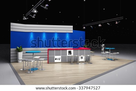 grey and blue exhibition stand 3d Rendering - stock photo