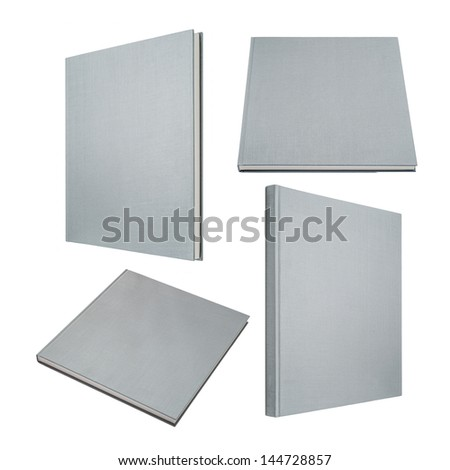 Grey book in four different angles isolated on white - stock photo