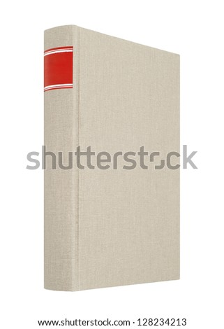 Grey book isolated on white, red frame for title on the spine - stock photo