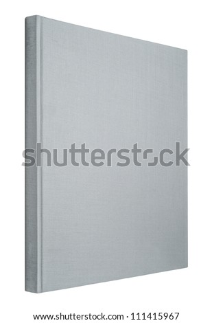 Grey book isolated on white, spine of book - stock photo