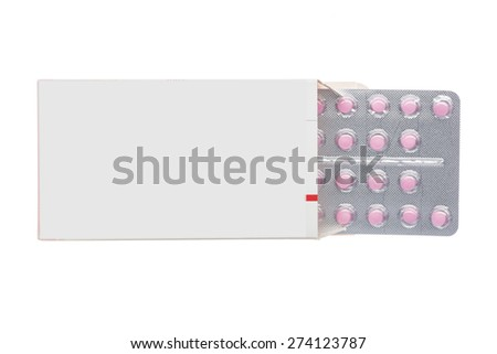 Grey box with pink pills in a blister pack on an isolated background - stock photo