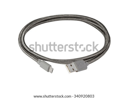 Grey braided wire usb to miniusb cable isolated on white - stock photo