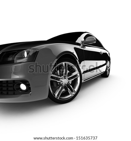 Grey car white color on a white background. with shiny paint. design concept. 3d rendering modern car - stock photo