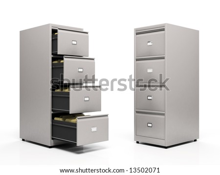 Grey card files isolated on white background 3D - stock photo