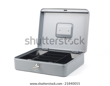 Grey cash box with lid open, and empty cash tray visible. Shot with infinity white background - stock photo