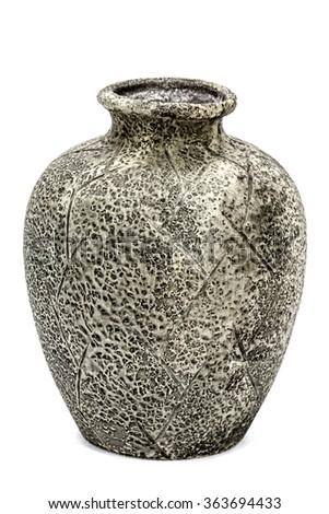 Grey ceramic vase, isolated on white background - stock photo