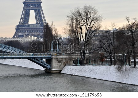 Grey Christmas day in Paris - stock photo