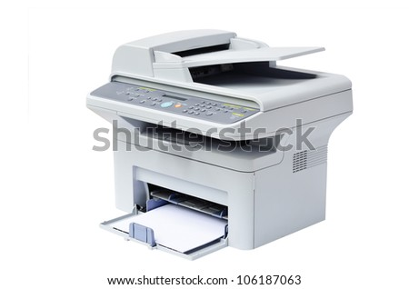 Grey computer printer isolated - stock photo