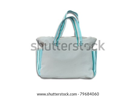 grey cotton bag on white isolated background. - stock photo