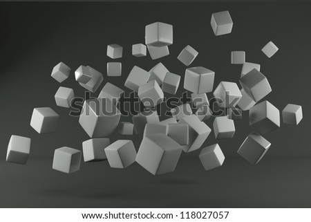 grey cube and grey background - stock photo