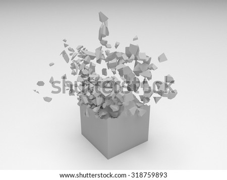 Grey 3D cube object explosion with random particles - stock photo