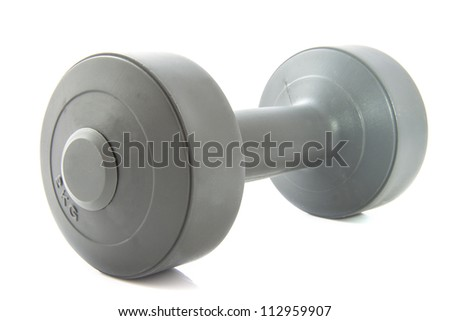 Grey dumbbell isolated on a white background - stock photo