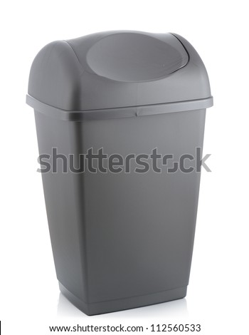 grey flip lid bin isolated on white background - stock photo