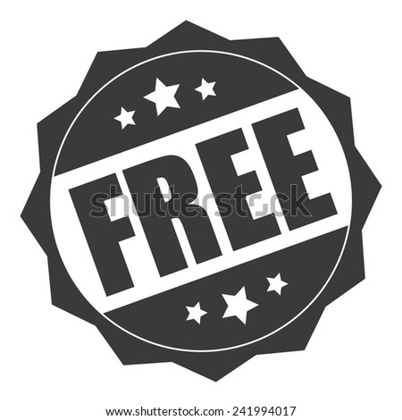 Grey free icon, tag, label, badge, sign, sticker isolated on white - stock photo
