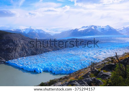Grey glacier at evening time. Torres del Paine National park. Chile. - stock photo