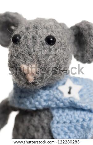 Grey handmade mouse using Crochet. Studio shot. - stock photo