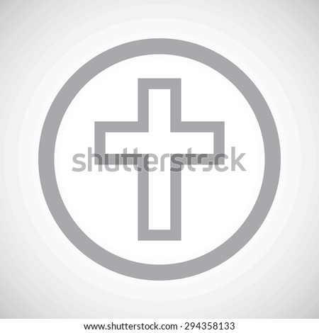 Grey image of christian cross in circle, on white gradient background - stock photo