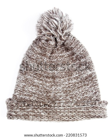 Grey knitted wool winter cap isolated on white background - stock photo