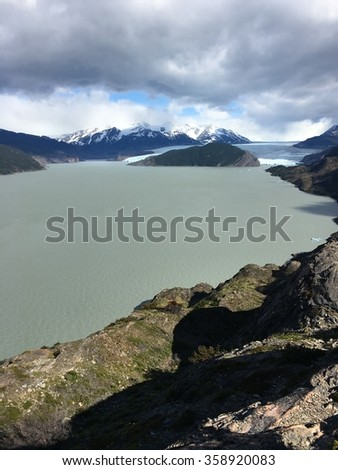 Grey Lake and Grey Glacier in Torres del Paine National Park, Chile - stock photo