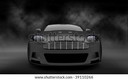 Grey luxury sports car / sportscar in smoke filled studio - stock photo