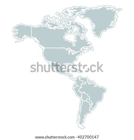 grey map of the american continent with white outline on white background with main internal borders - stock photo