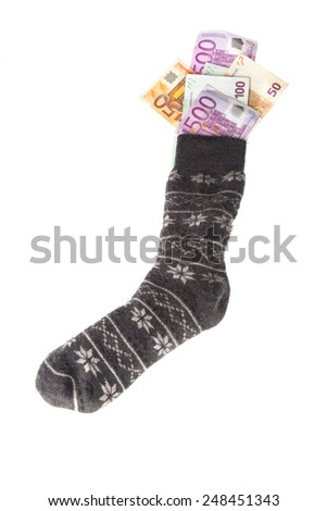 grey money sock with Euro banknotes. Financial concept for saving - stock photo