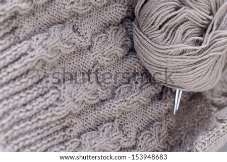 Grey or Gray Knitting details - stock photo