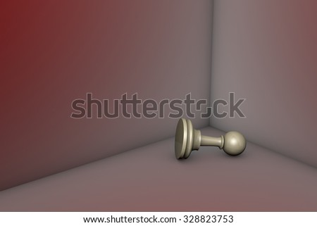 Grey pawn in the red corner. 3d image. - stock photo