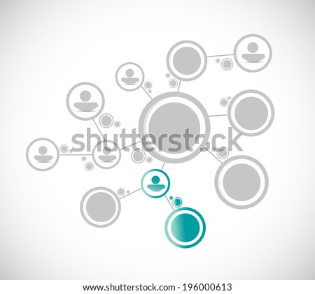 grey people diagram network connection and selection illustration design over a white background - stock photo