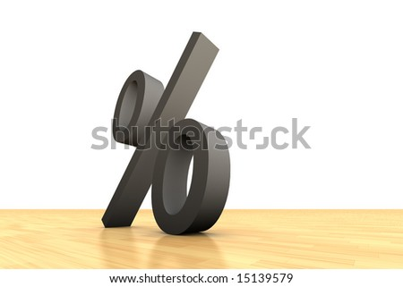 Grey percent symbol on wooden floor and white background - stock photo