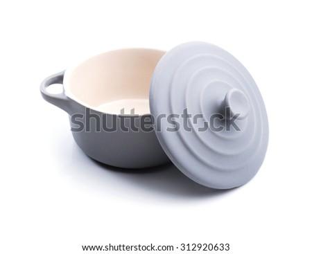 Grey  pot ceramic on white background. - stock photo