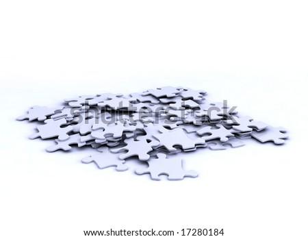 grey puzzle peaces on white background - stock photo