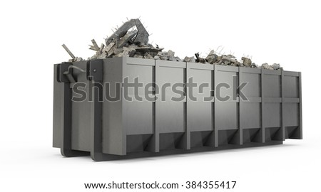 Grey rubble container isolated on white background - stock photo