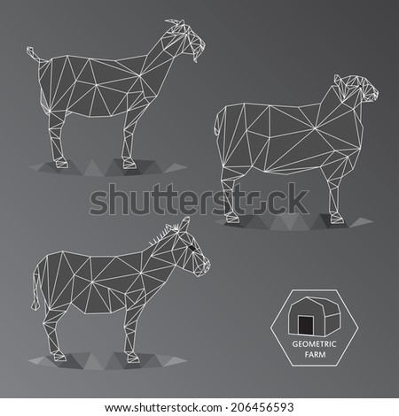 Grey scale illustration of geometric farm animals made of triangle low polygons,wire outline, set of medium animals like goat, donkey and sheep - stock photo