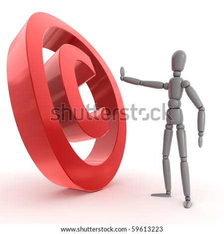 grey shiny person is stopping a shiny glossy red copyright sign - side view - stock photo