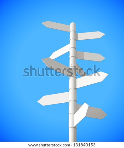 Grey signpost on a blue background 3d model - stock photo